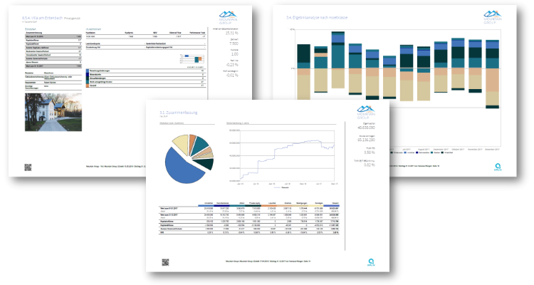 Three exemplary wealth reporting template pages